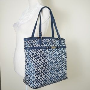 Tommy Hilfiger Navy Blue & Gray Tote Bag